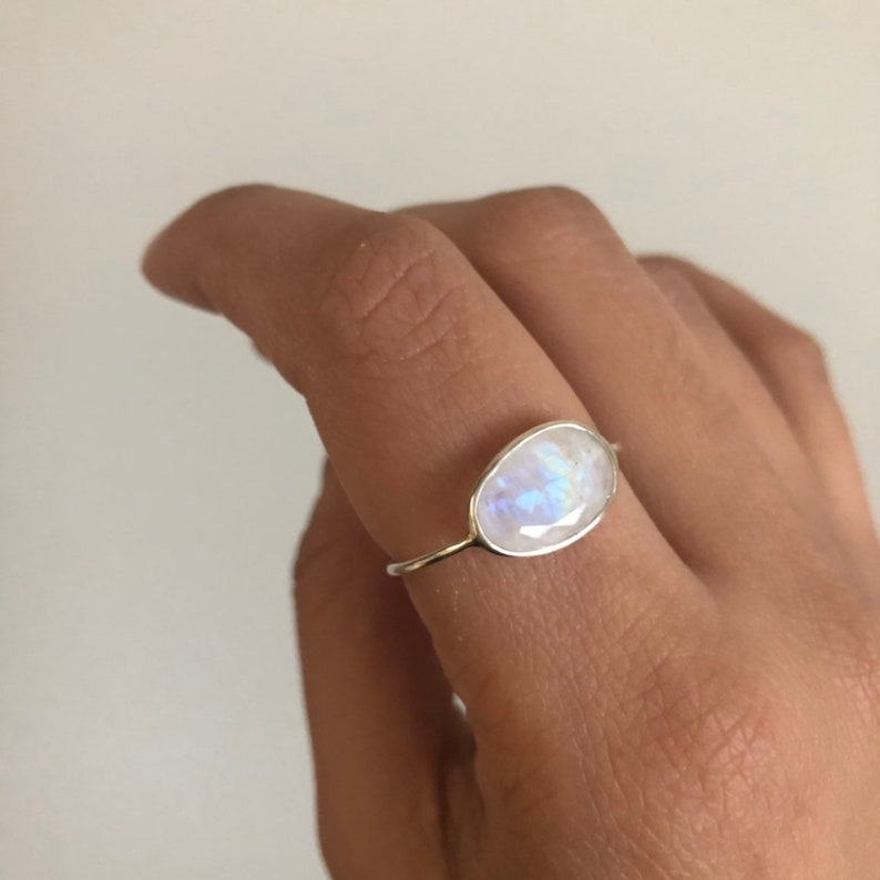 Faceted Moonstone Delicate Silver Ring June Birthstone Ring