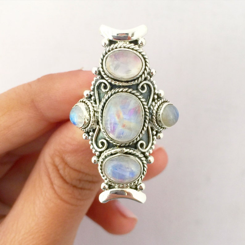 Moon Stone Ring Sterling Silver Large Bohemian Ring