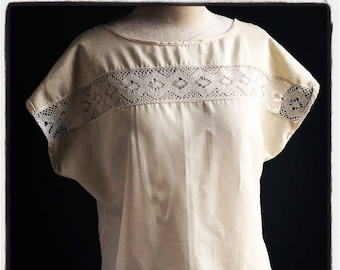 Women's lace blouse hand-made + antique bobbin lace & 100% Natural Silky Organic Cotton fabric. Hand crafted beautiful and original