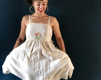 Women's embroidered Pinafore dress | antique cloth + certified organic silky natural cotton, inside pockets, 1940s design, lily flowers.