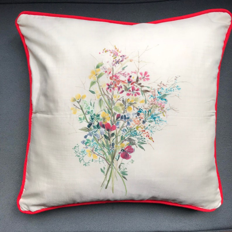 unique home decor one of a kind brush painted botanical cushion covers set red trim Set of Four Hand-Painted Silk Cushion Covers
