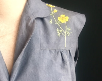 Women's 50s inspired blouse individually painted yellow buttercups navy dyed natural certified organic cotton, ethical fashion shopper