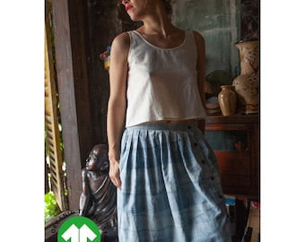 Womans skirt hand printed indigo certified organic cotton, front buttons and elastic back, inside pockets, 4 limited unique skirts available