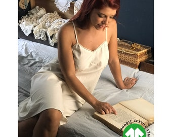 Victorian Inspired Natural certified 100% Organic cotton nightie with lace trim. Silky soft cool and elegant, sexy + comfortable, ethically