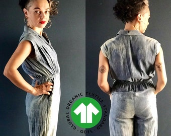 70s inspired jumpsuit - hand dyed natural indigo stone wash effect, 100% certified organic cotton, light and soft faux jean denim