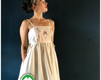 Women's Embroidered Pinafore Dress made from antique cloth and certified organic natural cotton inside pockets 40s inspired design, elegant.