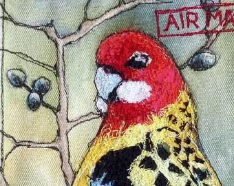 Original Textile art - Rosella Bird - by Kathryn Harmer Fox