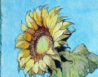 Original Textile art - Sunflower - Bird & more - by Kathryn Harmer - Fibre artist.  Postcard series