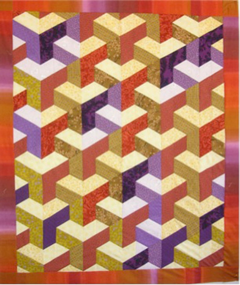 Inner City Quilt Pattern by Lessa Siegele - 3D geometrical & fascinating  The illusion of city buildings  Clever - Strip Pieced - NO Y SEAMS!