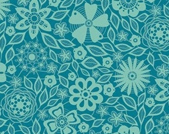 Teal Flowers and Peacocks Cotton Print Upholstery Fabric By The Yard Pattern # B0309B