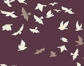 Maroon Bird Fabric Dark, Aves Chatter Dim, Art Gallery