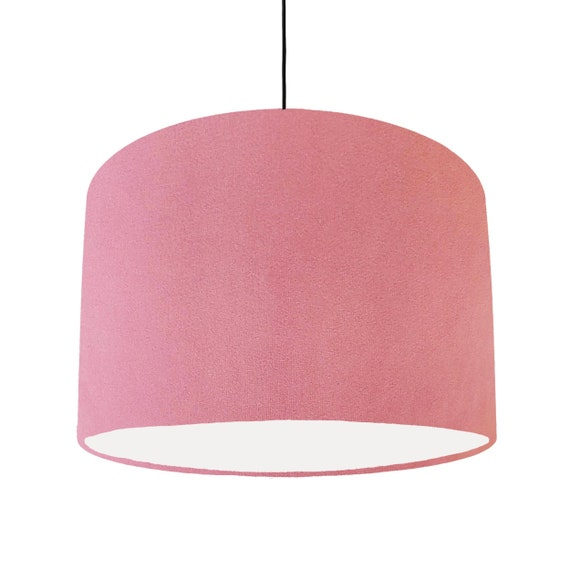 Light Pink Lampshade In Velvet With, Pink And White Lamp Shades
