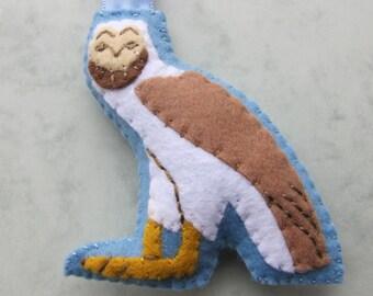 Egyptian Owl/Hieroglyph Felt keychain/Keyring. Hand sewn and embroidered. Ready to ship
