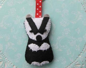 Cute Felt Badger Keychain/Keyring. Hand sewn and ready to ship.