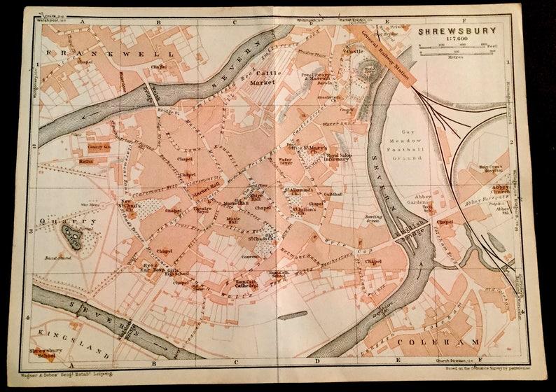 Vintage 1927 map of Shrewsbury UK. Great gift idea | Etsy