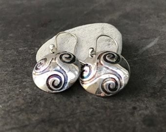 Celtic Spiral Earrings - Silver Spiral Earrings - Triple Spiral Earrings - Sterling Silver Earrings - Celtic Earrings
