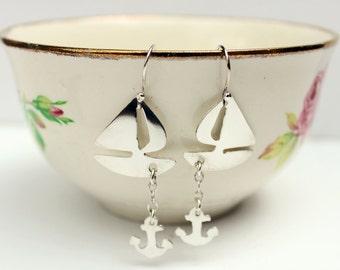 Silver Boat Earrings - Boat Earrings - Ocean Jewelry – Nautical Jewelry – Sailboat Earrings - Silver Boat and Anchor Earrings