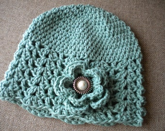 Spring  Beanie Hat for woman, Crochet  Hat for Women, Beanie Hat with Flower, Crochet Hat, Women Hat, women accessories, Summer Cotton Hat