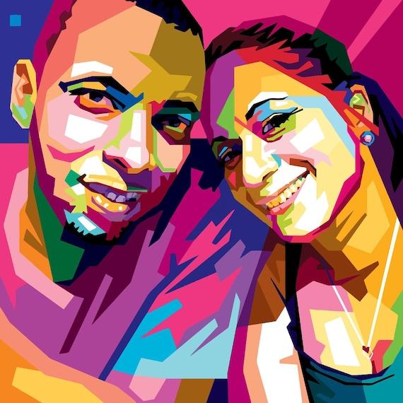 custom pop art oil painting your couple photo to wpap pop art etsy