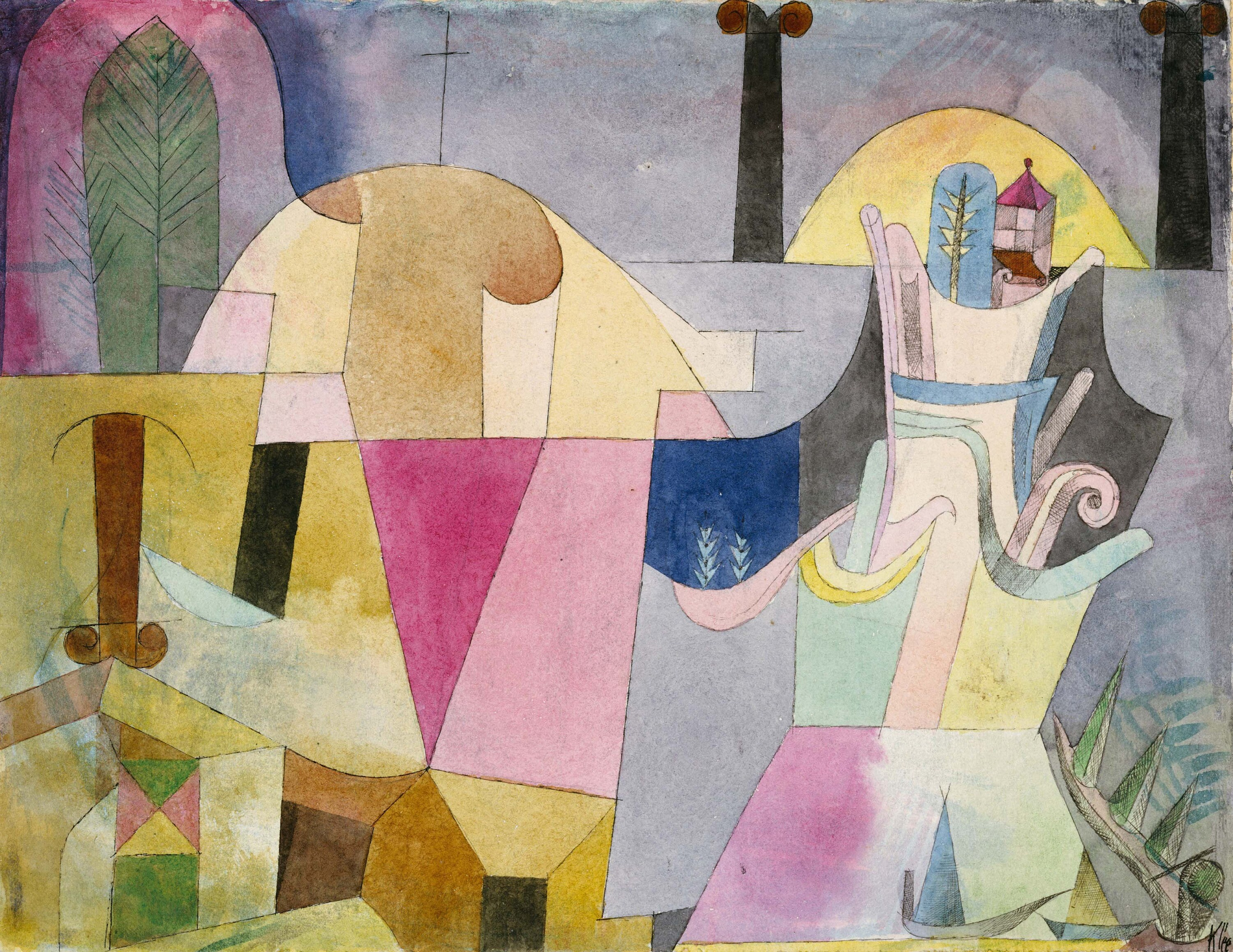D6050 1919 Paul Klee : Villa R Hand Painted Museum Quality Oil Painting Reproduction