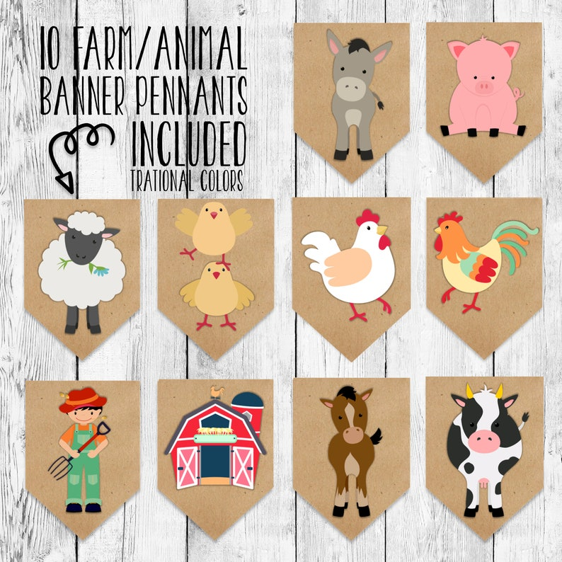 Birthday Banner Printable Barnyard Animal Bunting Event Decor Party Hanging Sign Cow Horse Pig Sheep Rooster Traditional Colors