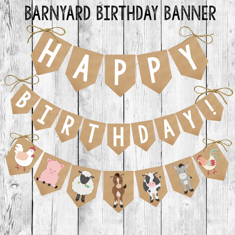 Birthday Banner Printable/ Barnyard Animal Bunting/ Event