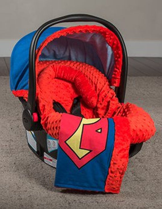Newborn Gift Boys Carseat Cover Superman Canopy Or