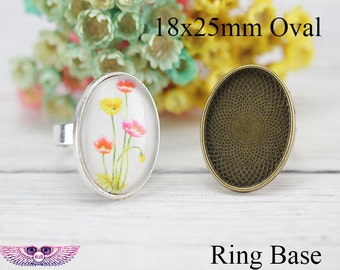 Cabochon ring finger ring round with 12 mm glass cabochon silver or bronze SMALL EISB\u00c4R