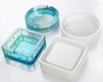 DIY Ashtray Silicone Resin Mold,Craft Jewelry Making Tools Epoxy Mold Resin Mold Silicone Mould Jewelry Storage Plate Dish Casting Trinket Container Mold Flower Round