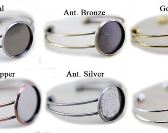 25mm Glass BRACELET Trays - Bezel Blanks - Shallow Bracelet Blanks - Cuff Bracelet Blank - Copper, Silver Gold, Rose Gold Bracelet -BR001