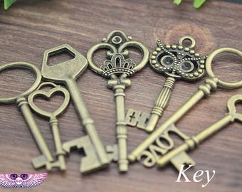 Vintage Keys - Antique Key Necklace - Key Charms - Skeleton Key Pendants - Bottle Opener Keys -  Skeleton Keys - N Style Keys