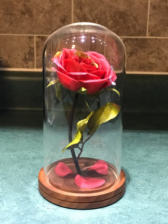 Engraved Beauty And The Beast Rose Medium Etsy