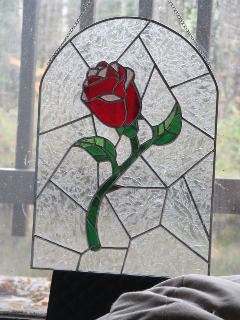 Schöne Und Das Biest Rose Glasmalerei Etsy