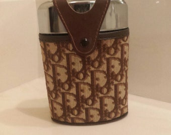 DIOR Super Rare DIOR Trotter Pattern Canvas Flask Barware Flask.Fabulous!! 62868da3f2ff6