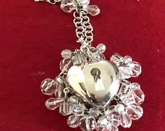 14886b858f66 Christian Dior Crystal Beaded Heart Purse Charm Absolutely beautiful