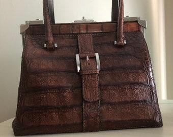 93bfc59ca9ea Hornback Crocodile Luxury Gladstone Kelly Top Handle Bag Pristine