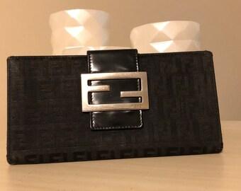 4fb24d1a74e Fendi Zucchino Black FF monogram Wallet. Large FF Logo Buckle. Authentic
