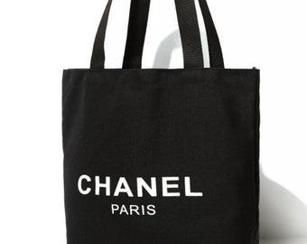 7738479ac6e CHANEL Shopping Travel Overnight Tote Bag Authentic Chanel bag Black Canvas  White CC logo monogram