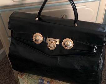 eb6e1daaea59 SALE Versace Kelly Birkin Top handle bag Italian Lambskin