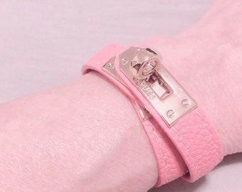 ed3e20d6849 Hermès Kelly Double Tour Bracelet Pink Coral