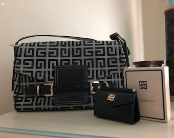 74114c0141b3 GIVENCHY Super Rare Black GG Logo Givenchy bag Matching Givenchy Coin purse  Beautiful Rare Vintage