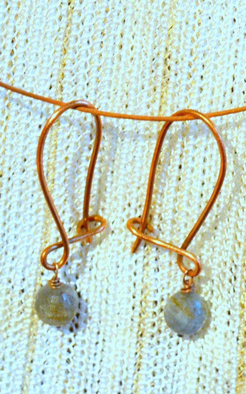 Chandelier earrings Handmade copper earrings Labradorite earrings Copper wire earrings with gemstone Earrings Copper wire  earrings
