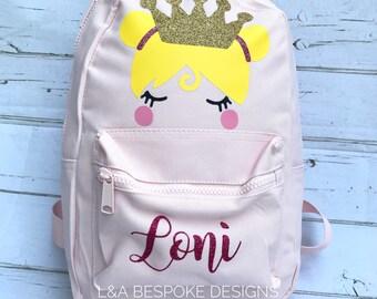 660a3621fdbb Princess Backpack - Personalised Princess Backpack - Back to School Bag -  Personalised School Bag - Glitter Backpack - Little Girls Backpack