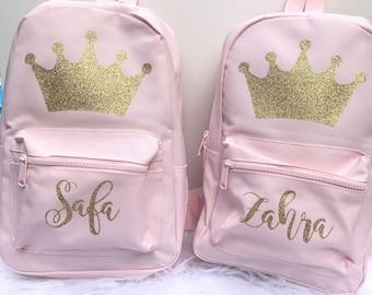 dde894cd961 Crown Backpacks - Personalised Backpack - Mini Backpack - Girls School Bag  - Princess Backpack - Scooh Bag - Large Backpack - Girls Bag