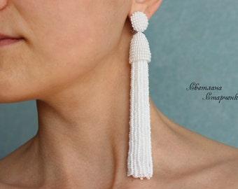 """White Long-tassel Handmade Clip on Earrings """"Star's"""" in Oscar de la Renta style"""