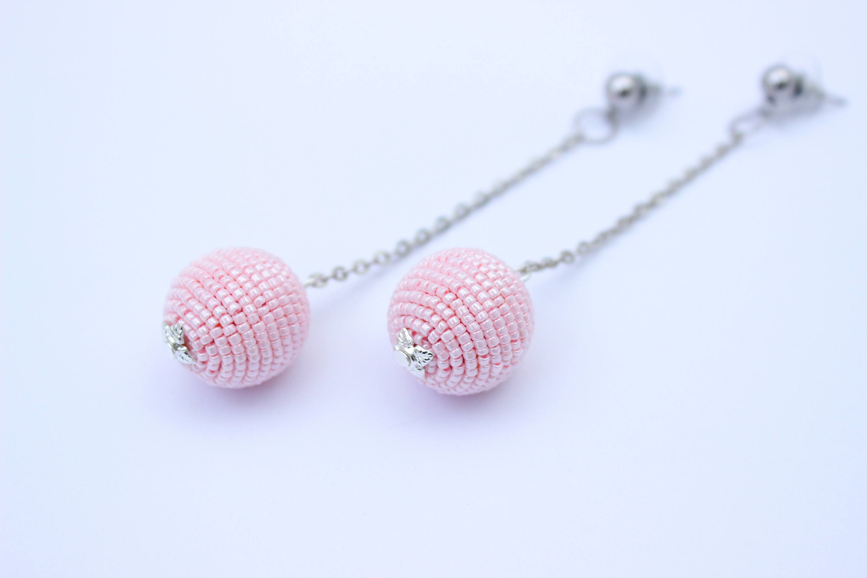 218488d18547c Tender Pink Handmade Earrings in Rebecca de Ravenel Style Balls Les Bonbons  earrings Pink Bon Bon Earrings, Balls Drop Earrings