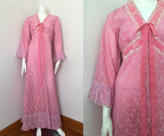30s Pink Lace Morning Coat/Dressing Gown – Size S