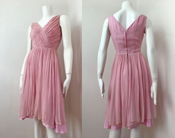 30s/40s Pink Ruched Chiffon Silk Cocktail Dress- S