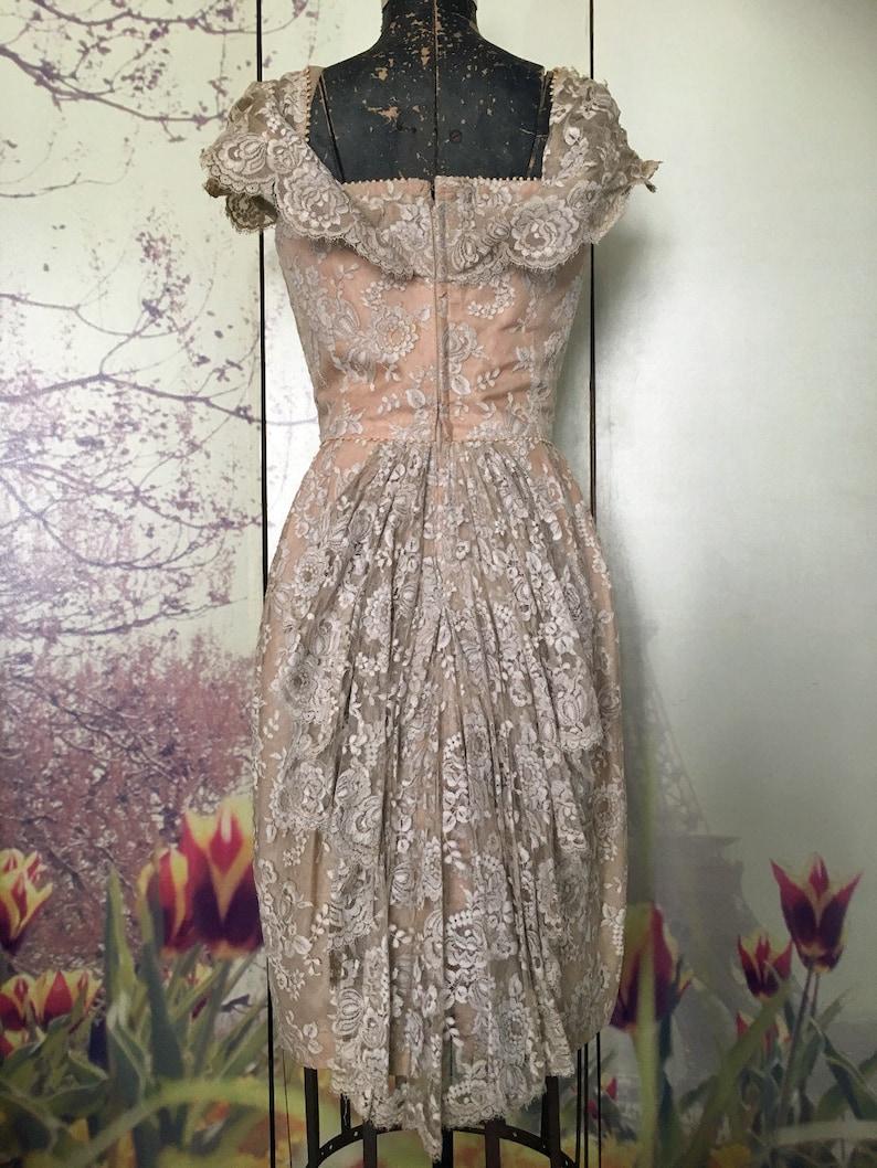 Exquisite 1930s SIMONE Ivory Lace Fishtail Frock Size S \u2013 Off The Shoulder Delight