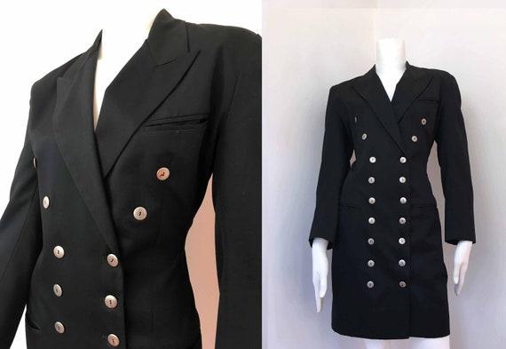 MERIVALE Double-Breasted Black Tuxedo Military Dre